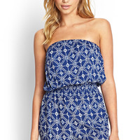 Abstract Floral Strapless Romper