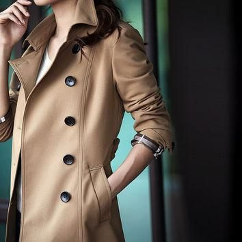 Brown, polo collar Medium long, high-end slim trench coat for women, casual double bre
