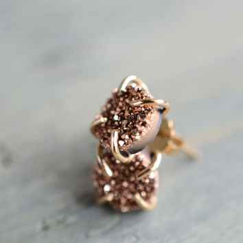 Rose Gold Druzy Prong Earrings. Rose Gold Glitter Post. Minimal Delicate Everyday Earrings. Bridesmaid Earrings. Rose Gold and Gold Fill