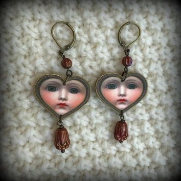 Porcelain Doll Earrings - Doll Face Earrings - Vintage Doll Earrings - Bizarre Earrings - Creepy Earrings - Halloween Earrings - Plastic