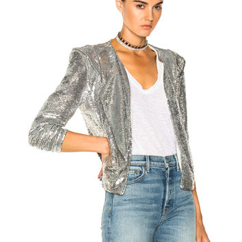 IRO Waklyn Sequin Jacket in Silver | FWRD