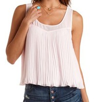 Knit & Chiffon Pleated Tank Top by Charlotte Russe