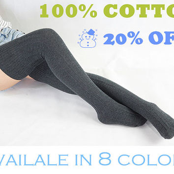 Cotton Boot Socks Knit Socks Thigh High Socks Knee Socks Long Socks Boot Cuff Socks Knee High Socks Christmas Gift Eight Available Colors 66