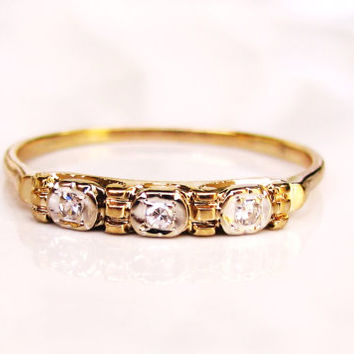 Antique Art Deco Diamond Wedding Ring 14K Two Tone Gold Ladies Thin Wedding Band Petite Diamond Wedding Ring Vintage Stacking Ring Size 7.5!