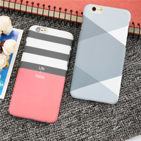 Ultra thin Frosted Matte Phone Cases For iPhone 7 6 6s Plus SE 5 5s Case Hard PC Cover Stripe Grid Splice Pattern Funda Capa Hot