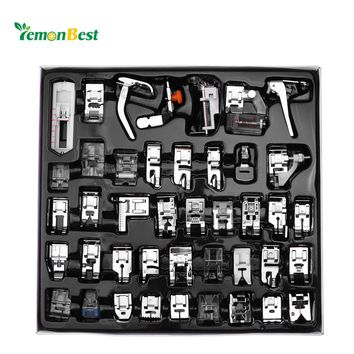 LemonBest 42pcs Mini Domestic Sewing Machine Presser Foot Feet Kit Set Hem Foot Spare Parts Accessories for Brother Singer