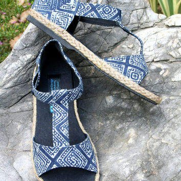 T Strap Vegan Womens Sandals In Ethnic Hmong Indigo Batik Summer Shoes - Lindsay