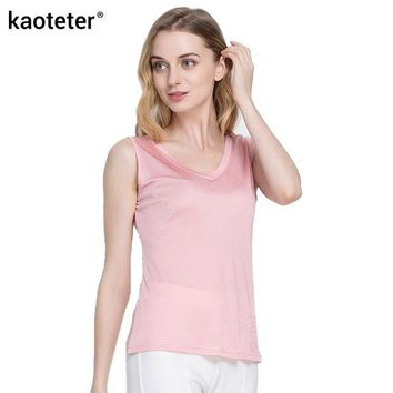 DCCKFC9 100% Pure Silk Women's Tank Tops Femme Casual Blouse Women Sleeveless Vest Blusa Feminina Blouses Ladies Shirts For Female Woman