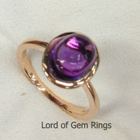 Oval  Purple Amethyst Engagement Ring 14K Rose Gold  Solitaire