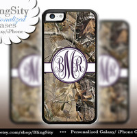 Camo Dark Purple Monogram iPhone 5C 6 Plus Case iPhone 5s 4 case Ipod Realtree Cover Personalized real tree camo Country Inspired Girl