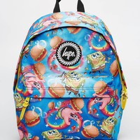 Hype x Spongebob Backpack with Burger and Patrick Print