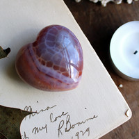 Crackled Fire Agate Carved Puffy Heart
