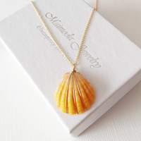 Sunrise shell necklace - Small sunrise necklace - Hawaiian sunrise shell necklace - beach jewelry - gift for her. (N112)