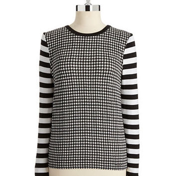 Michael Michael Kors Petite Houndstooth and Striped Top