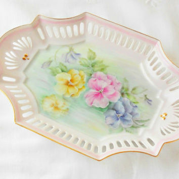 Vintage Hand Painted Reticulated Porcelain Tray, Cottage Style, Signed, IPAT, Pansies, Shabby Chic