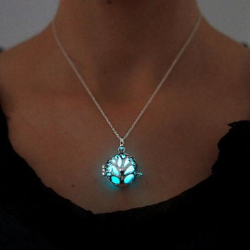 Aqua Glowing Heart Necklace, Glowing Jewelry, Glow in the Dark, Gifts for Her, Valentines Day, READY TO SHIP, Glow jewelry