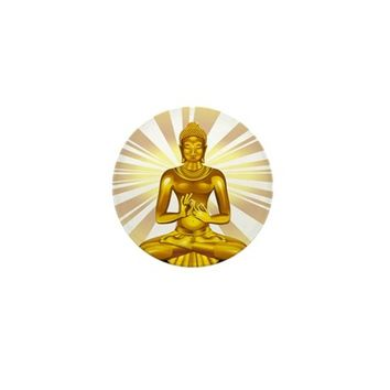 BUDDHA SIDDHARTHA GAUTAMA GOLDEN STATUE MINI BUTTO