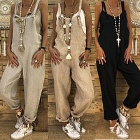 Women's Loose Fit Linen Overall Pants
