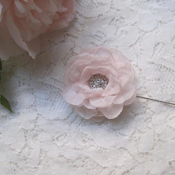 Blush Pink Chiffon Lapel Stick Pin Tack or Bar Pin for the Dapper Man Choose Color with Rhinestone Center Boutonniere Pocket flower Lapel