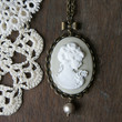 My Fair Lady Cameo Necklace - Gray