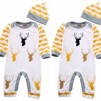 Newborn Infant Baby Boy Girl Print Deer Bodysuit Long Sleeve Romper Jumpsuit Hat Outfits Clothes 2 Pcs [9325388548]