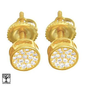 Jewelry Kay style Men's Pave Lab Diamond Gold Plated Round Stud Screw Back Earrings SE 028 G