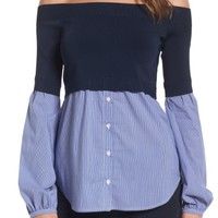 Trouvé Off the Shoulder Poplin Sweater | Nordstrom