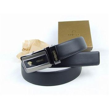 Versace Collections Men Versace Belt Black leather Black Buckle Stainless Adjustable C