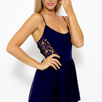 Mia Playsuit - Navy Side Crochet Cut Out Romper