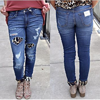 Leopard Distressed Jeans