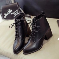 On Sale Hot Deal Zippers Dr. Martens Pointed Toe High Heel Korean Stylish Boots [11192771655]
