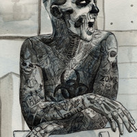 Zombie Boy Art Print by Helen Green