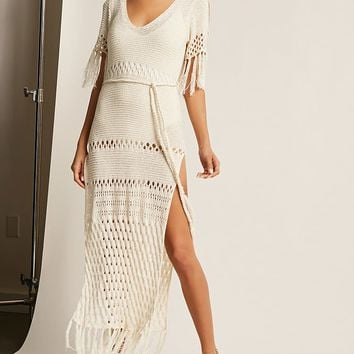 Sheer Crochet Maxi Dress