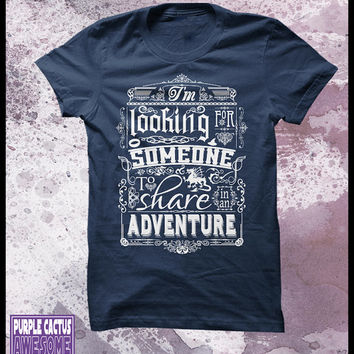 "The Hobbit t shirt - Mens Decorative typography movie t shirt. ""Help wanted"""