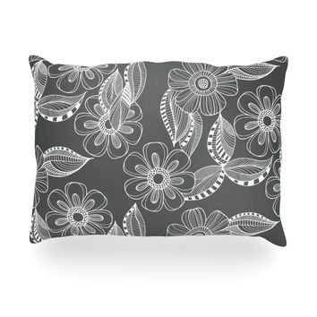 "Louise Machado ""Floral Ink"" Gray White Oblong Pillow"