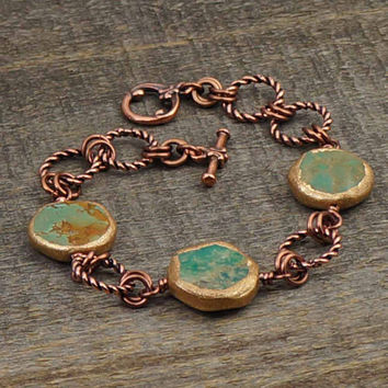 Twisted copper links and turquoise beads bracelet, green blue, 8 inches 20cm