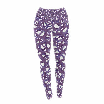 "Trebam ""Vino"" Purple White Modern Vector Yoga Leggings"