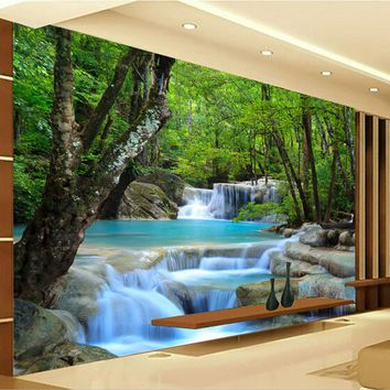 Custom Photo Wallpaper 3D HD Forest River Waterfall Backdrop Decorative Wall Painting Living Room Bedroom Wall Covering Paper