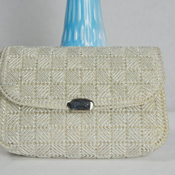 CUTE Vintage 60's Silver Clutch Bag Petite Handmade Plastic Canvas Purse
