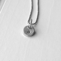 Sample Sale, Sterling Silver Tiny Initial Necklace, Letter a Necklace, Hand Stamped Necklace, Charm Necklace, Sterling Silver Jewerly