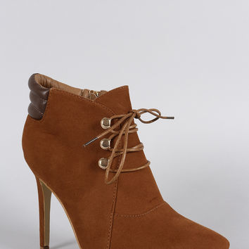Suede Pointy Toe Lace Up Stiletto Booties