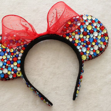 Snow White Inspired Rhinestone Minnie Mouse Ears  by GlitzyVault