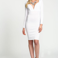 White Sweetheart Plunge Midi Dress