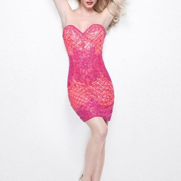 Primavera Couture - Strapless Sequined Cocktail Dress 1645