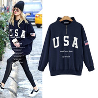 Plus Size Printing USA Long Sleeve Sweater