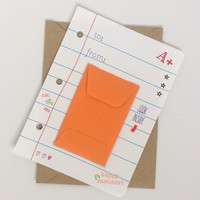 Teacher Thank You Card with ORANGE Gift Card Envelope on Looseleaf Note Paper with School Doodles