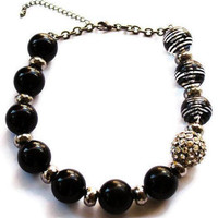 1980's Chunky Bead Necklace In Black Silver And Rhinestone