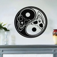 Taoism (Daoism) Symbol Yin and Yang Skulls Wall Vinyl Decal Art Sticker Home Modern Stylish Interior Decor for Any Room Smooth and Flat Surfaces Housewares Murals Window Graphic Bedroom Living Room (3663)