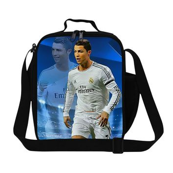 Cristiano Ronaldo lunch bag for boys school work insulated food bags Messenger lunch cooler bags for kids,thermal picnic bag