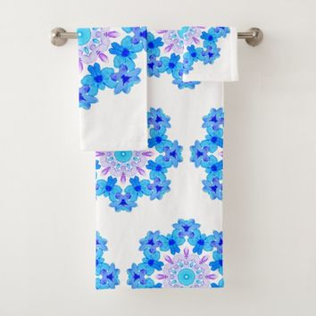 Flower Mandala Violet Blue Watercolor Floral Art Bath Towel Set